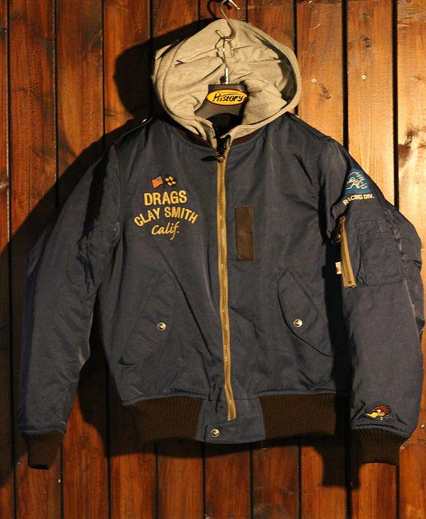 CLAY SMITH クレイスミス CSY-8323 CLASSIX 防寒 パーカーレイヤードスタイルMA-1 フライトジャケット ネイビー