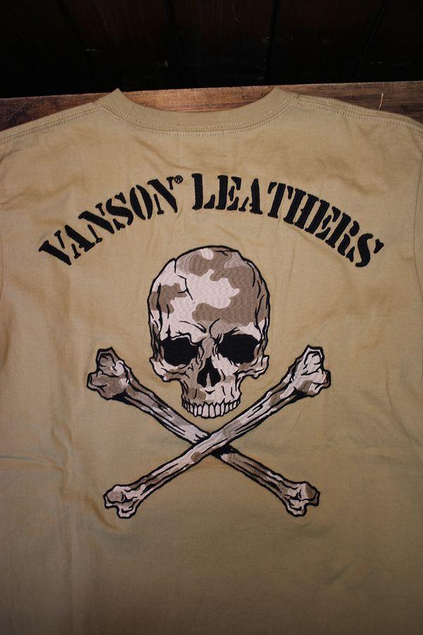 VANSON バンソン NVST-2118 天竺半袖Tee スカル刺繍 Tシャツ サンドベージュ