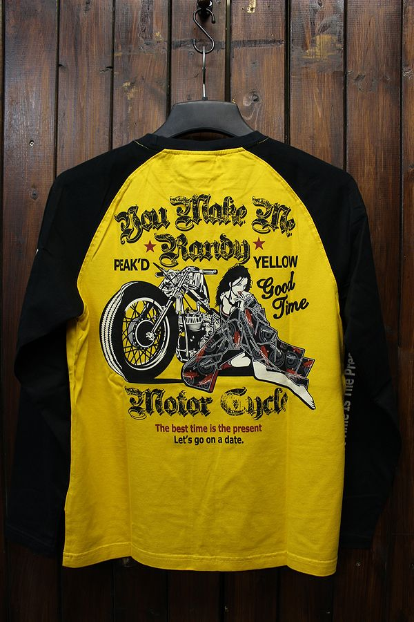 PEAK'D YELLOW ピークドイエロー PYLT-204 ロングスリーブTシャツ バイク ハーレー イエロー/ブラック
