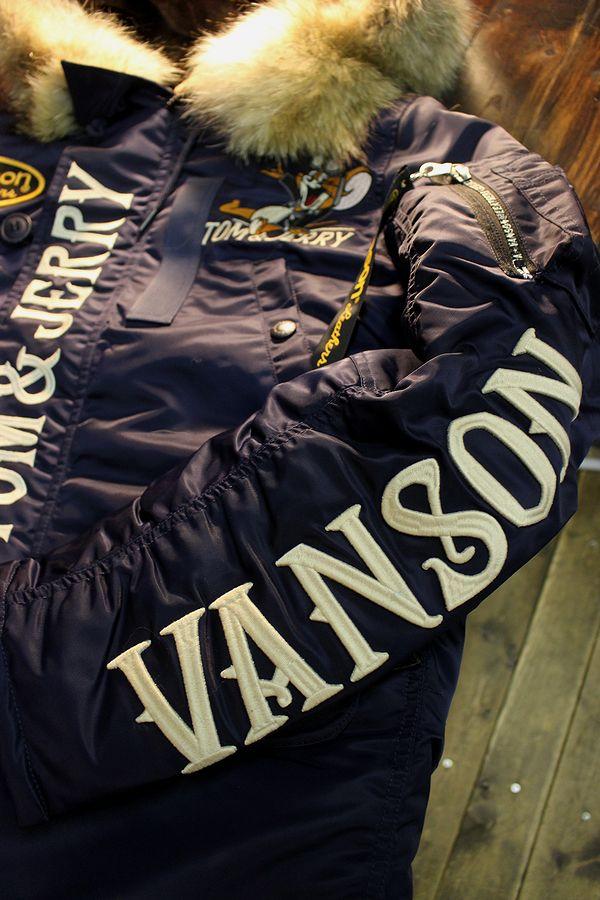 VANSON×Tom and Jerry トムとジェリーコラボ TJV-935 N-3Bフライトジャケット ネイビー