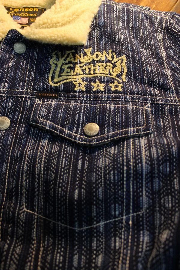 VANSON バンソン NVJK-2006 刺し子×ボアジャケット チェーン刺繍 インディゴ