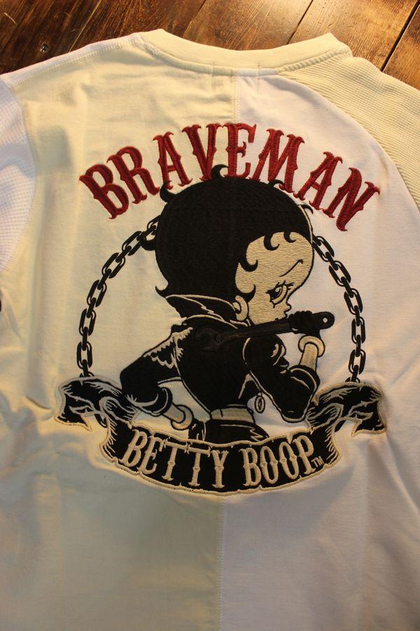 The BRAVE-MAN×BETTY BOOP ベティTシャツ BBB-2120 クレイジー半袖Tee ナチュラルオフ