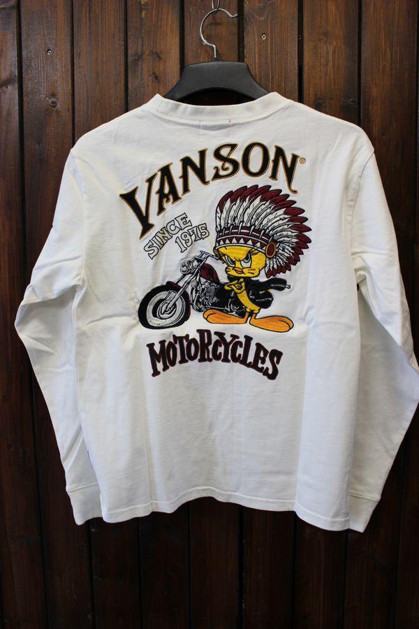 VANSON×LOONEY TUNES バンソン コラボ 天竺ロンT 長袖Tee LTV-731 オフホワイト