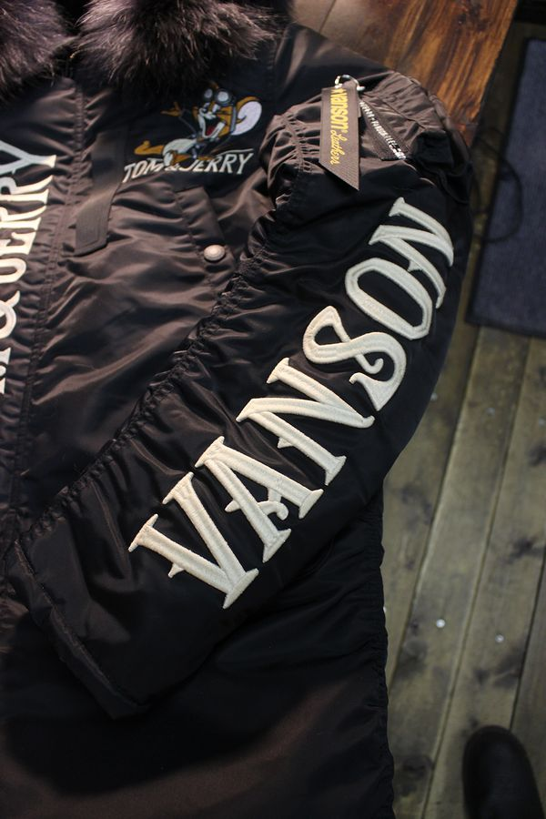 VANSON×Tom and Jerry トムとジェリーコラボ TJV-935 N-3Bフライトジャケット ブラック