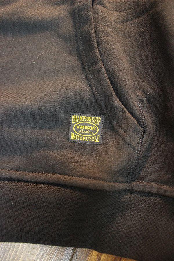 VANSON バンソン NVSZ-2012 裏毛プルオーバーパーカー ブラック