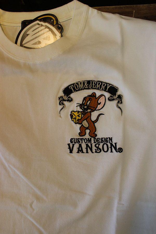 VANSON×Tom and Jerry トムとジェリーコラボ  TJV-2124 ベア天半袖Tee ジェリーTシャツ オフホワイト