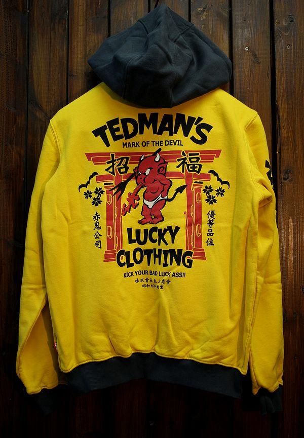 エフ商会 TEDMAN(テッドマン) TDSP-149 招福zip UP スウェットパーカ イエロー/ネイビー