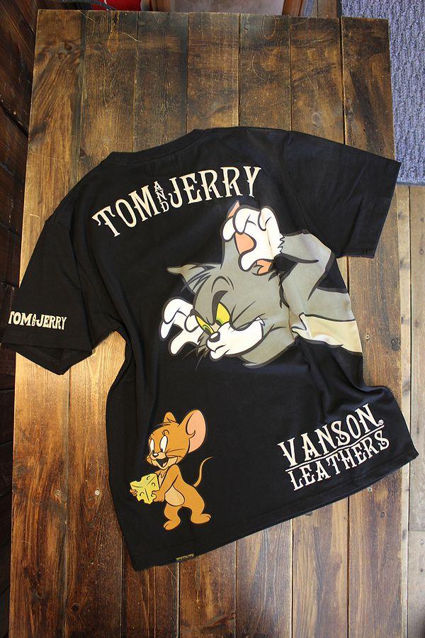 VANSON×Tom and Jerry トムとジェリーコラボ  TJV-2124 ベア天半袖Tee ジェリーTシャツ ブラック