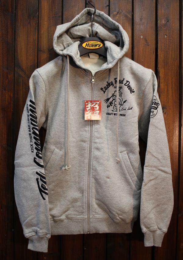 エフ商会 TEDMAN(テッドマン) TDSP-150 Lucky Red Devil zip UP刺繍スウェットパーカ アッシュ