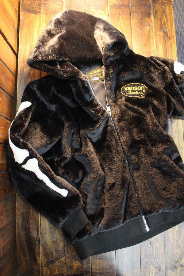 VANSON バンソン NVSZ-2020 ファーZipジャケット モフモフパーカージャケット ブラック