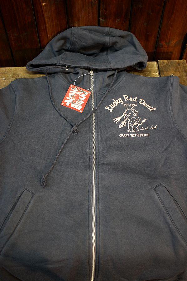 エフ商会 TEDMAN(テッドマン) TDSP-150 Lucky Red Devil zip UP刺繍スウェットパーカ ネイビー