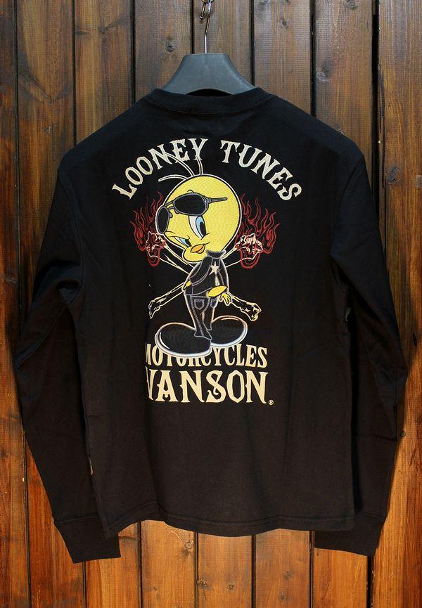 VANSON×LOONEY TUNES バンソン×ルーニー・テューンズコラボLTV-924 天竺ロンTee ブラック