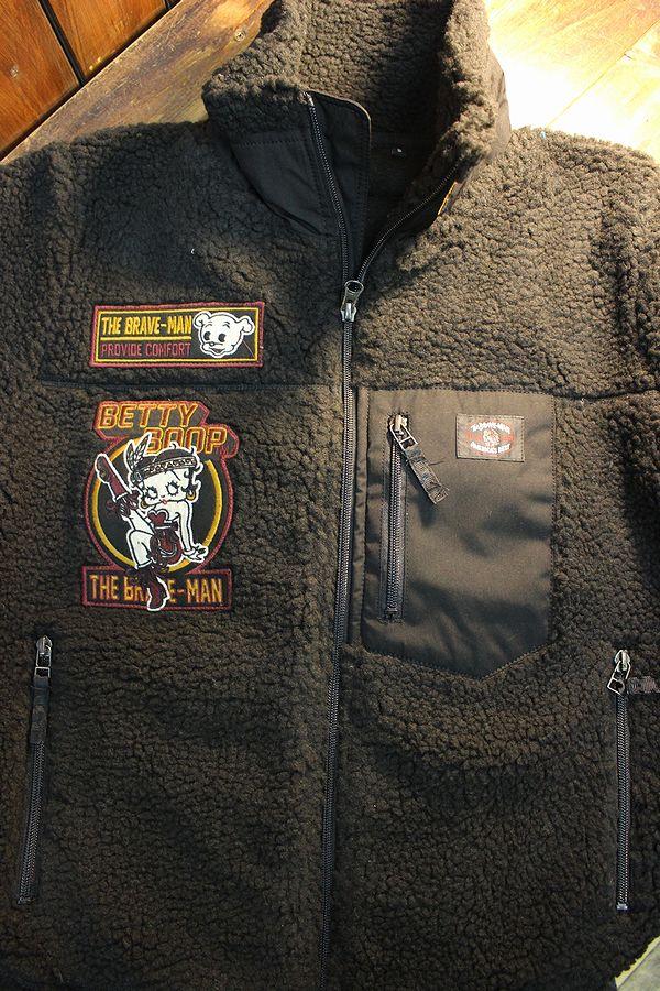 The BRAVE-MAN×BETTY BOOP ベティブープ BBB-2029 ボアジャケット BETTY BOOP 90th Anniversary ブラック