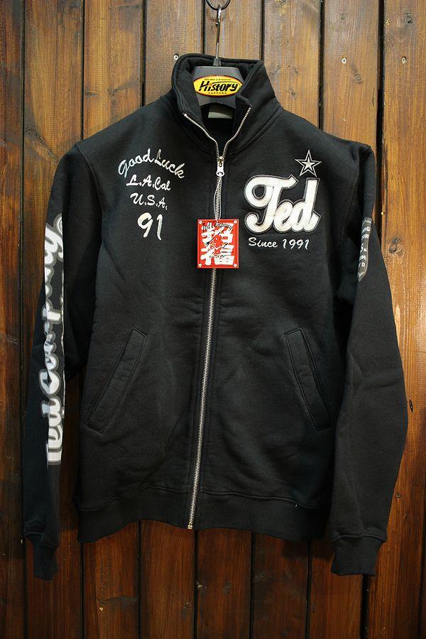 エフ商会 TEDMAN(テッドマン) TDSZ-151 刺繍&プリントジップスウェット ブラック