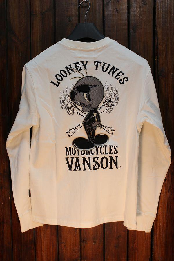 VANSON×LOONEY TUNES バンソン×ルーニー・テューンズコラボLTV-924 天竺ロンTee オフホワイト