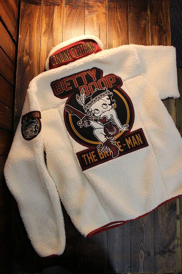 The BRAVE-MAN×BETTY BOOP ベティブープ BBB-2029 ボアジャケット BETTY BOOP 90th Anniversary オフホワイト