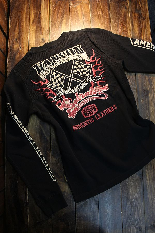 VANSON バンソン NVLT-2105 サーマルロンTee 長袖Tシャツ チェッカーフラッグ
