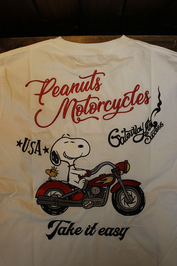 FLAG STAFF フラッグスタッフ×Snoopy スヌーピー 412014 天竺半袖Tee 刺繍 半袖Tシャツ バイク ホワイト