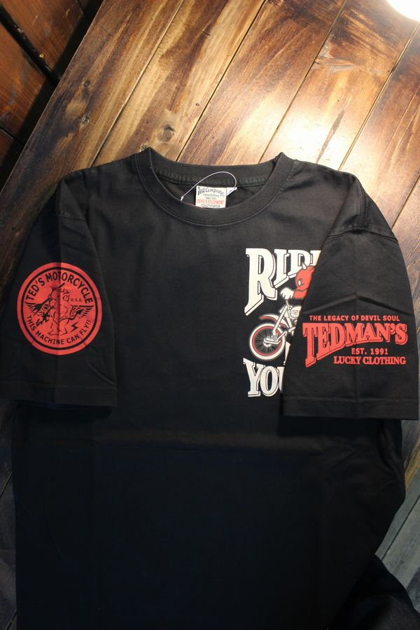 エフ商会 TEDCOMPANY TEDMAN(テッドマン) TDSS-508 コットンTシャツバイク ヴィンテージモトクロス ブラック