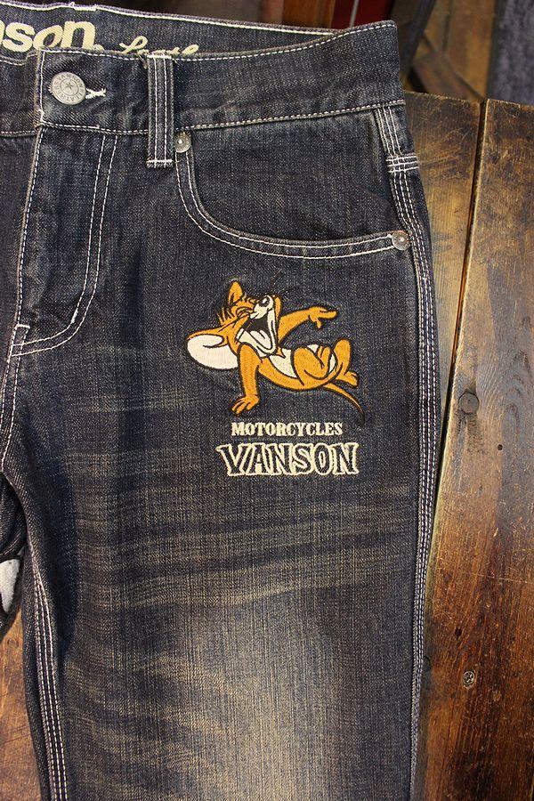 VANSON×Tom and Jerry トムとジェリー TJV-2137刺繍デニムパンツ ジーンズ インディゴ