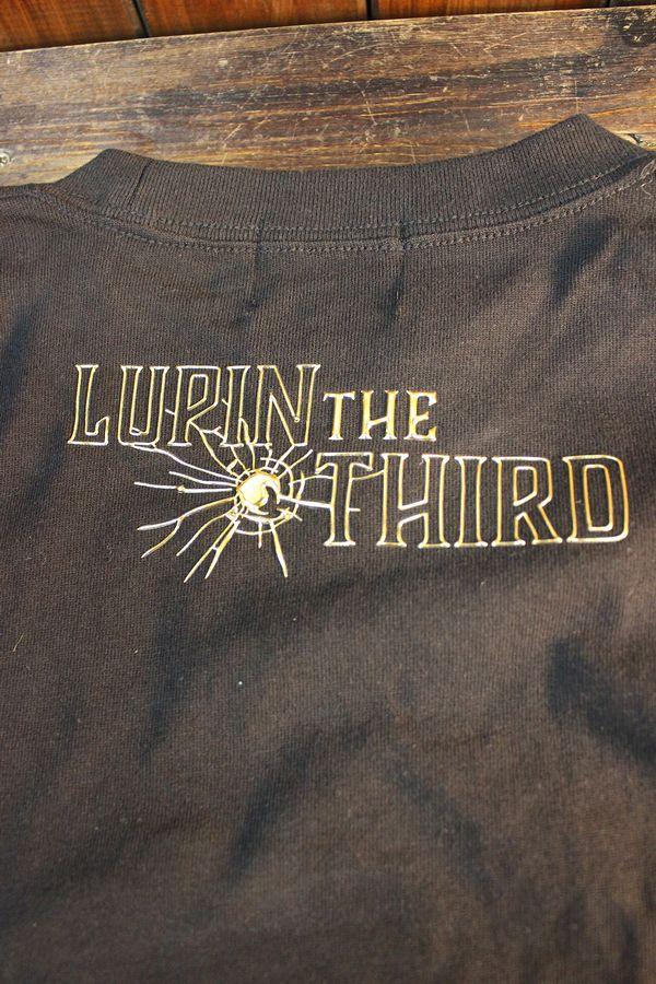 ルパン三世 LU3B-2007 天竺ロンTee エンボスプリント 長袖Tシャツ ブラック/ゴールド