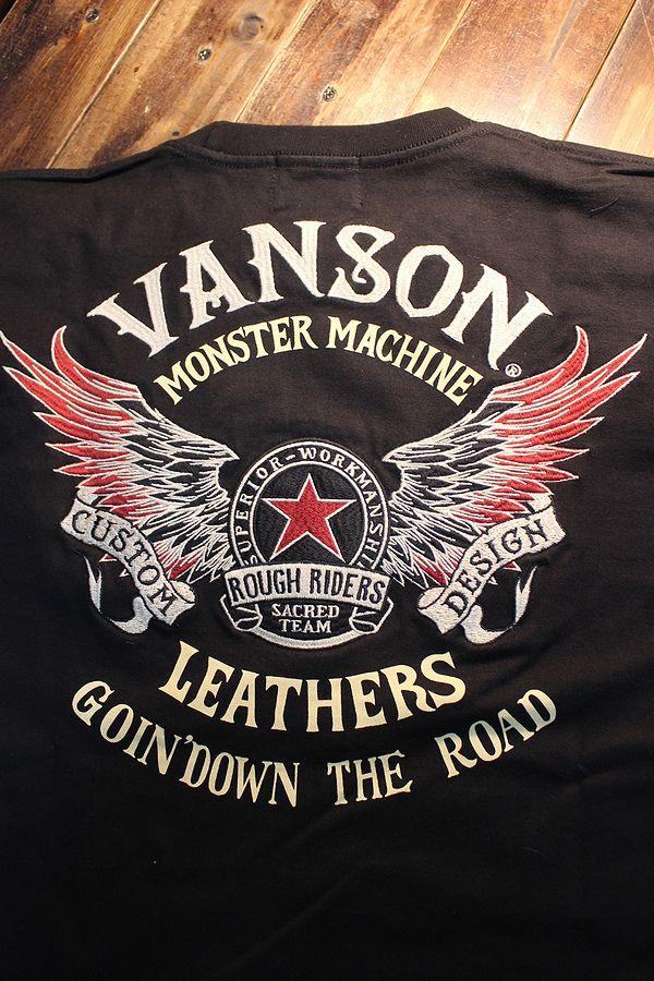 VANSON バンソン NVLT-2102 天竺ロンTee 刺繍 長袖Tシャツ ウイング スター ブラック