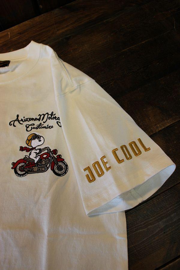 FLAG STAFF フラッグスタッフ×Snoopy スヌーピー 412016 天竺半袖Tee 刺繍 半袖Tシャツ バイク ホワイト