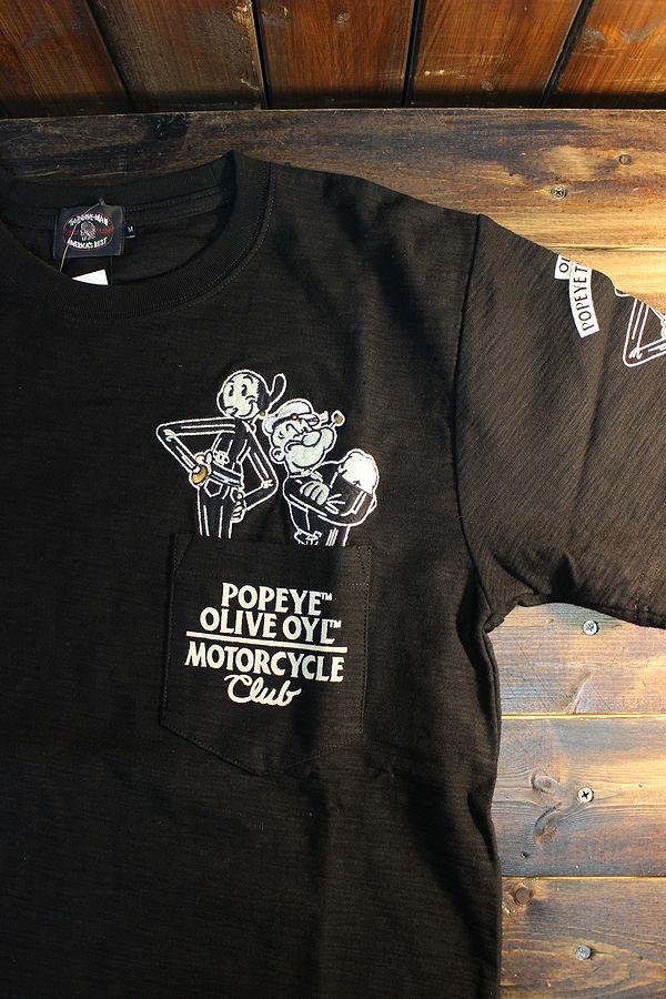 The BRAVE-MAN×POPEYE the SAILORMAN POB-2004 スラブ天竺半袖TEE  ポパイ Tシャツ ブラック