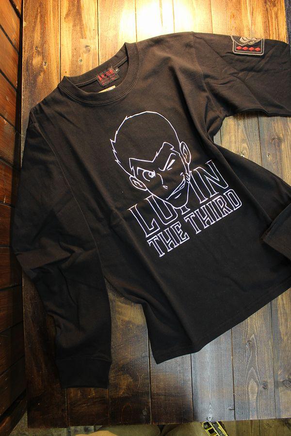 ルパン三世 LU3B-2007 天竺ロンTee エンボスプリント 長袖Tシャツ ブラック/シルバー