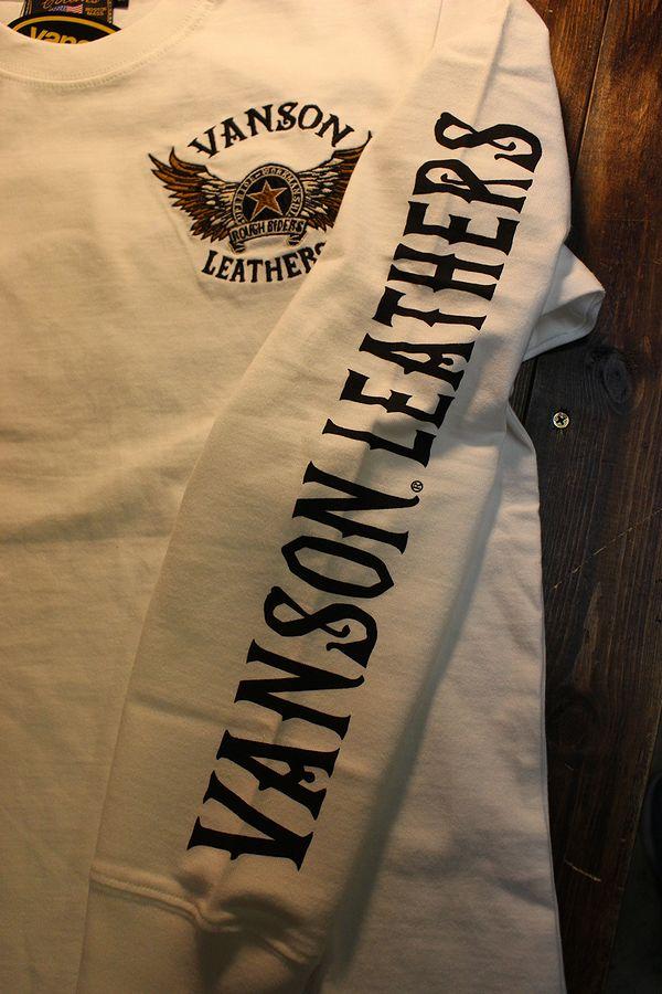 VANSON バンソン NVLT-2102 天竺ロンTee 刺繍 長袖Tシャツ ウイング スター オフホワイト
