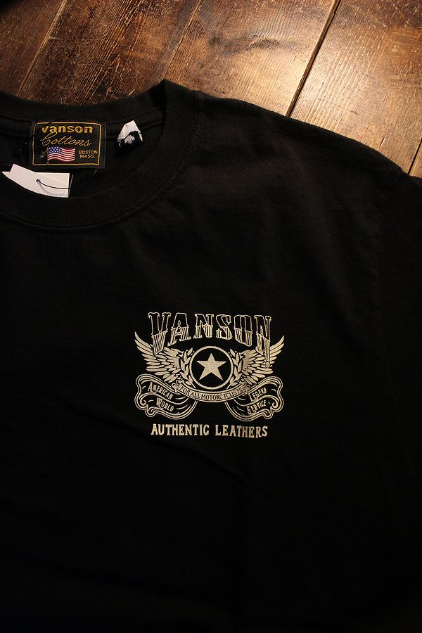 VANSON バンソン NVST-2124 半袖Tee カナダ製 天竺半袖Tee Tシャツ ウイング ブラック