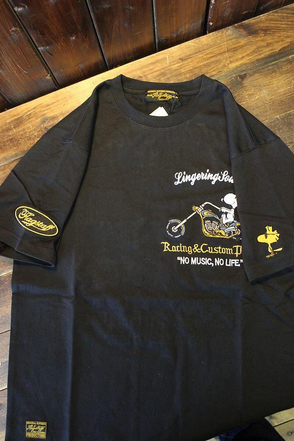 FLAG STAFF フラッグスタッフ×Snoopy スヌーピー 412015 天竺半袖Tee 刺繍 半袖Tシャツ バイク ブラック