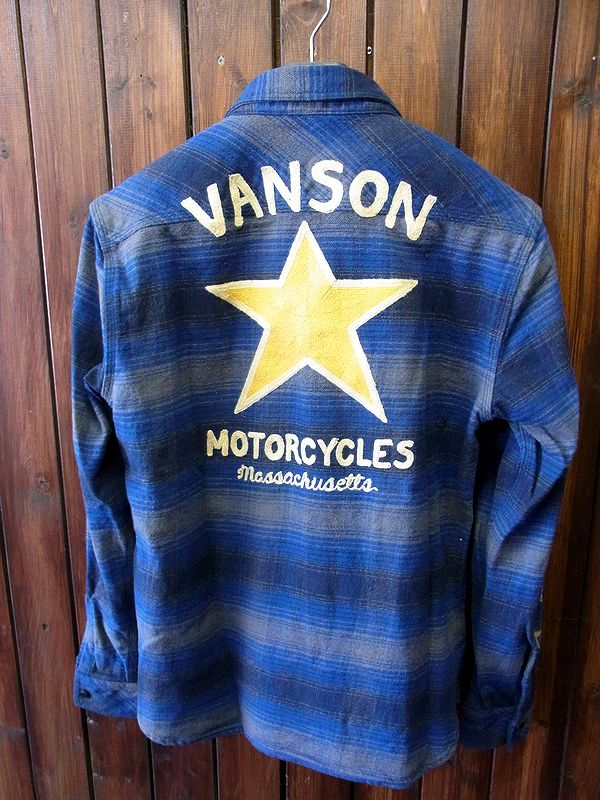 VANSON(バンソン) ヘビー ネルシャツ チェック 長袖 スター 表起毛 nvsl-609 ブルーチェック