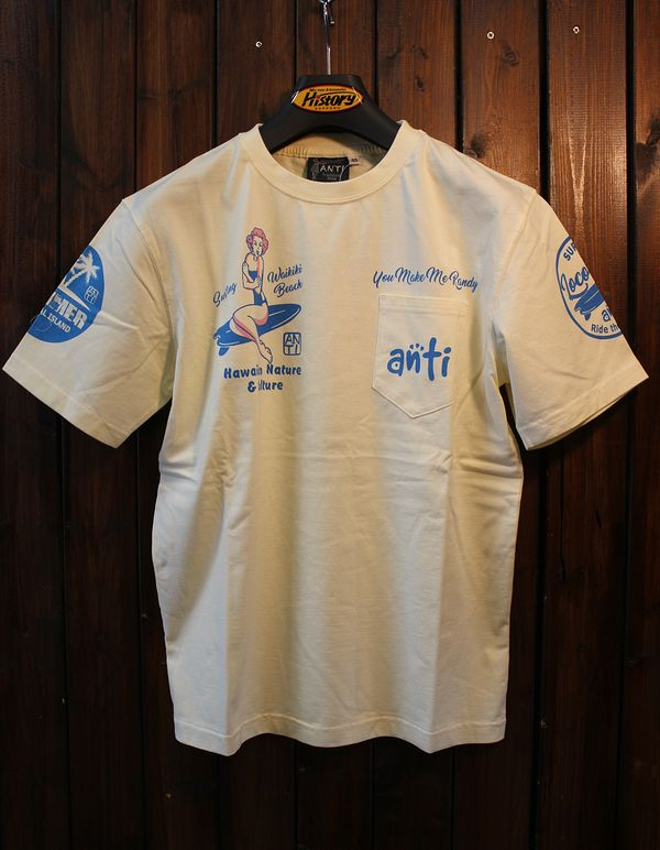 エフ商会 ANTI アンチ ATT-154 ロコガールTee コットンTシャツ オフホワイト