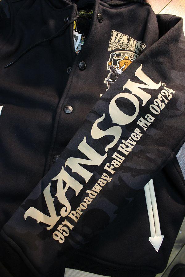 VANSON×Tom and Jerry トムとジェリーコラボ TJV-934 ボンディングスタジャン ブラックカモ フード着脱