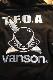 VANSON×CROWS×WORST 武装戦線 CRV-2032 裏毛フロントZipパーカー エンボスプリント BK/SV