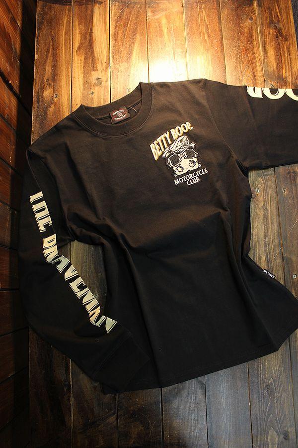 The BRAVE-MAN×BETTY BOOP ベティ長袖Tシャツ BBB-2101 天竺ロンTee 刺繍 ブラック