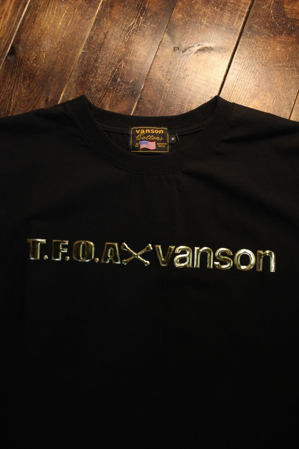 VANSON×CROWS×WORST 武装戦線 コラボ CRV-2110 ベア天半袖Tee エンボスシート ブラック