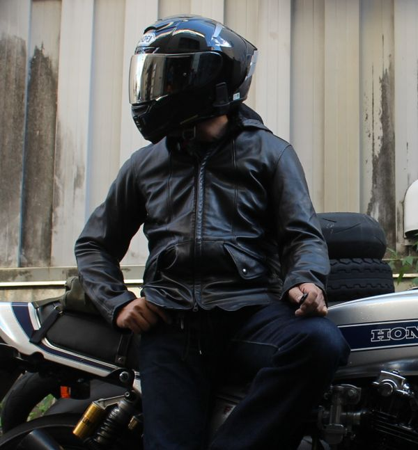 KADOYA (カドヤ) VERMILLION レザーハーフコート バーミリオン レザージャケット フード取り外しOK