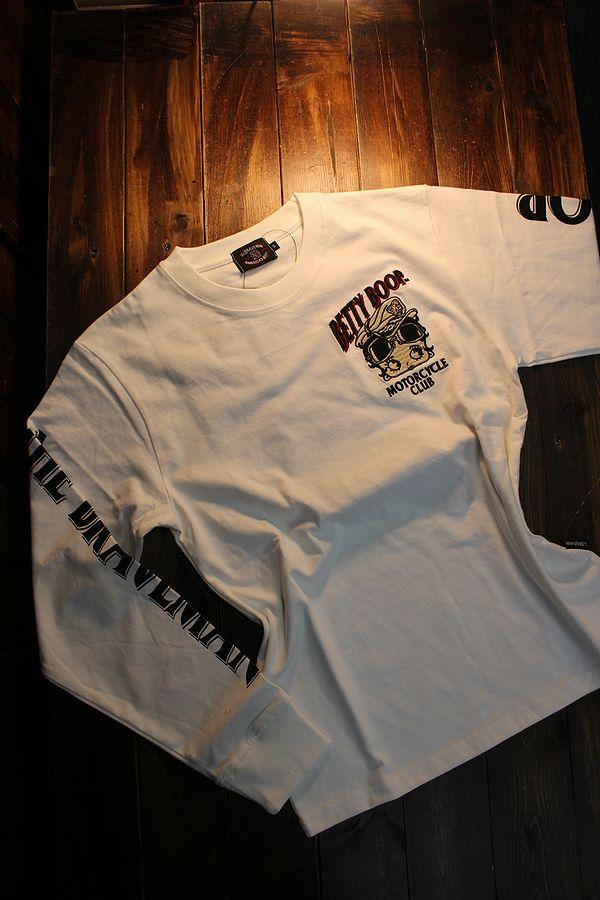 The BRAVE-MAN×BETTY BOOP ベティ長袖Tシャツ BBB-2101 天竺ロンTee 刺繍 オフホワイト