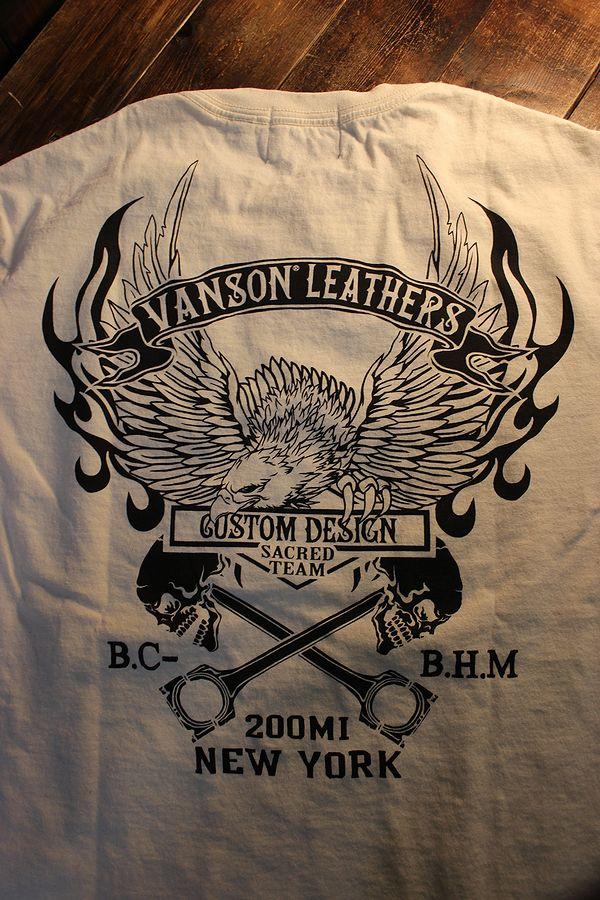 VANSON バンソン NVST-2125 半袖Tee カナダ製 天竺半袖Tee Tシャツ イーグル スカル ナチュラル