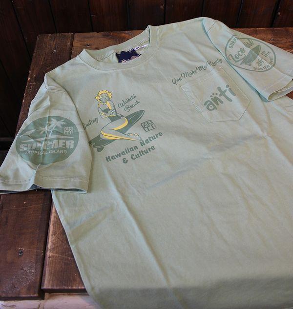 エフ商会 ANTI アンチ ATT-154 ロコガールTee コットンTシャツ ライトグリーン