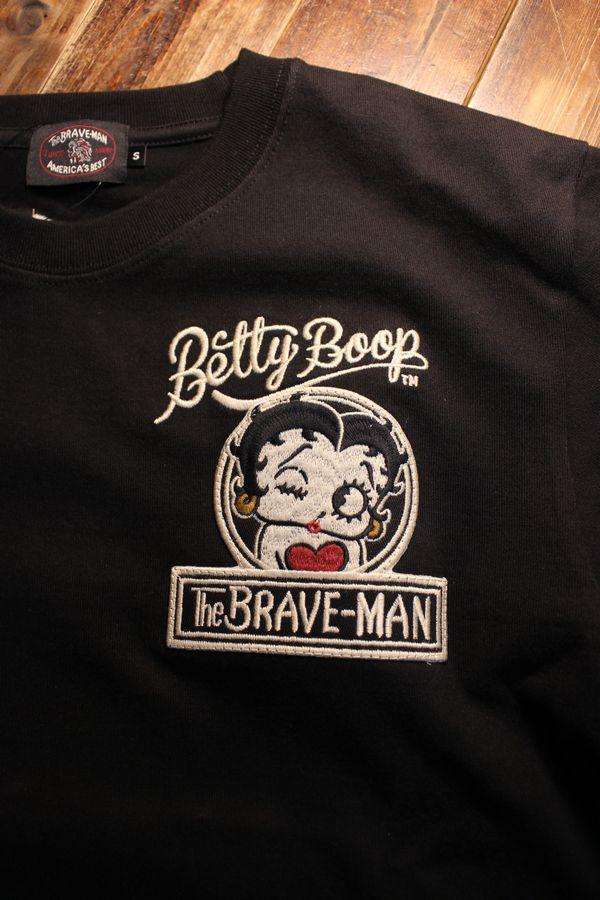 The BRAVE-MAN×BETTY BOOP ベティ長袖TシャツBBB-2102 天竺ロンTee 刺繍 ブラック