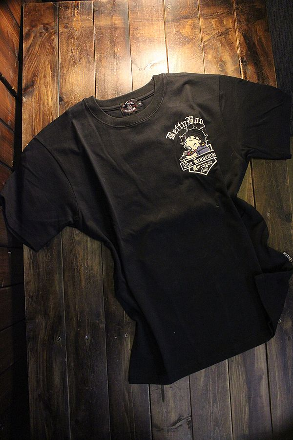 The BRAVE-MAN×BETTY BOOP ベティTシャツ BBB-2116 天竺半袖Tee 刺繍 ハーレー ブラック
