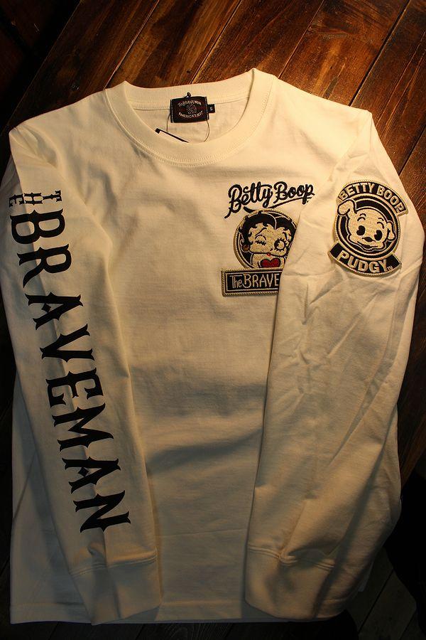The BRAVE-MAN×BETTY BOOP ベティ長袖TシャツBBB-2102 天竺ロンTee 刺繍 オフホワイト