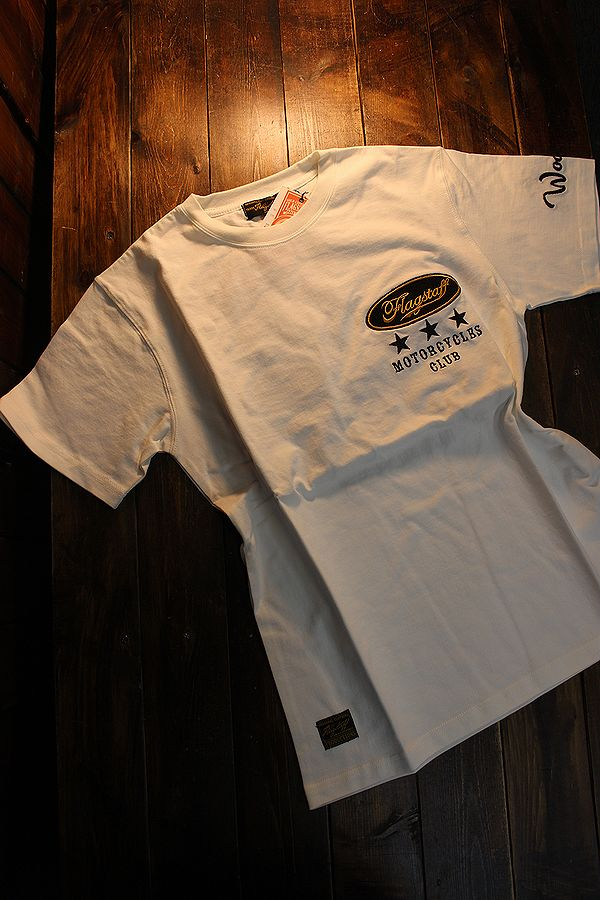 Snoopy スヌーピー 402011 半袖Tee 刺繍 半袖Tシャツ バイク ホワイト