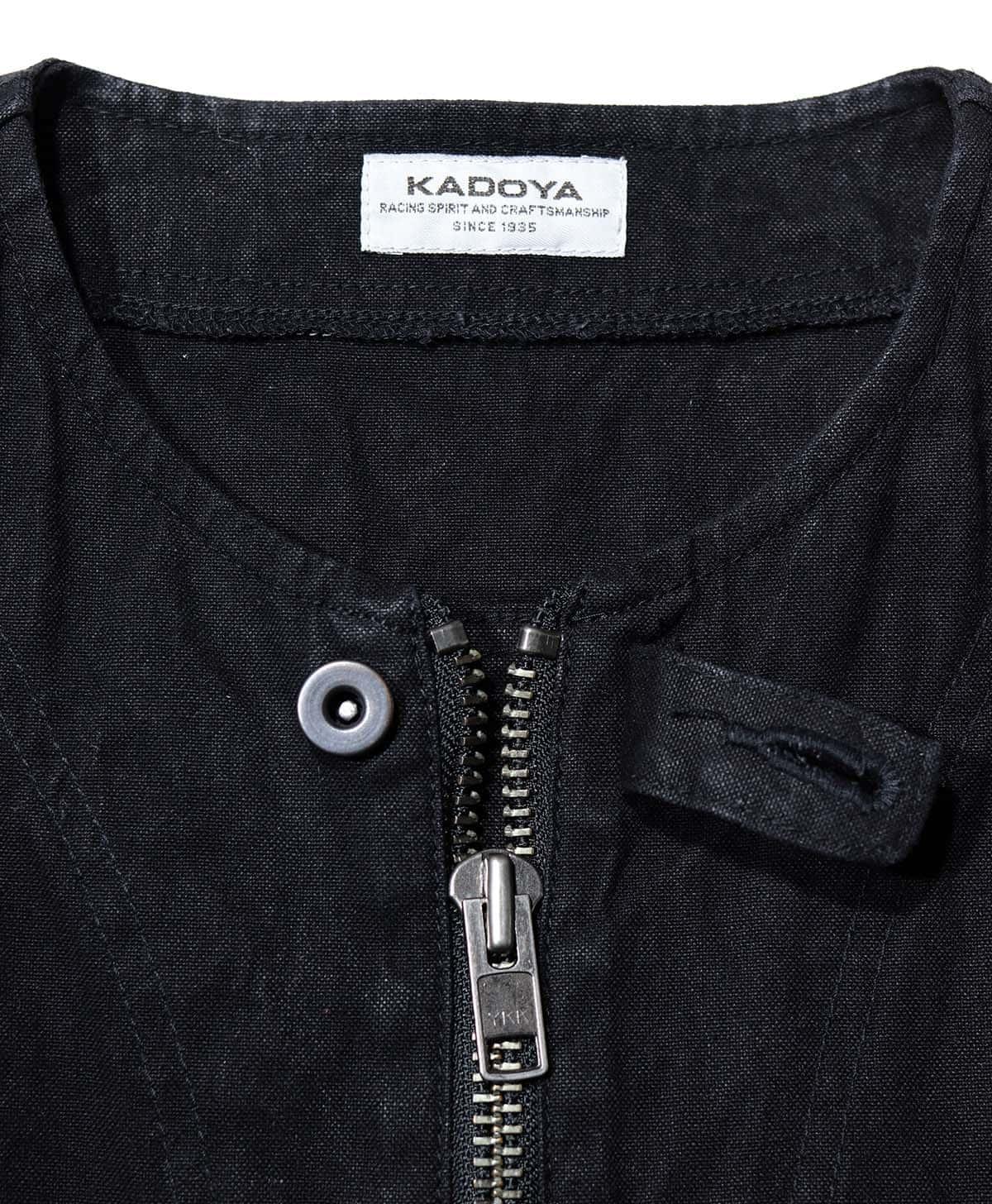 KADOYA(カドヤ) RIDERS WORK VEST ライダースワークベスト ダック生地ベスト ブラック 日本製