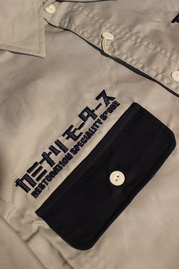 TEDMAN テッドマン TDKMS-02 TEDMAN×カミナリ ワークシャツ ハコトラ グレー/ネイビー