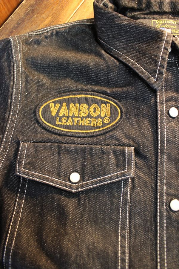 VANSON×Tom and Jerry トムとジェリーコラボ  TJV-2028 カットライクデニムシャツ ブラック