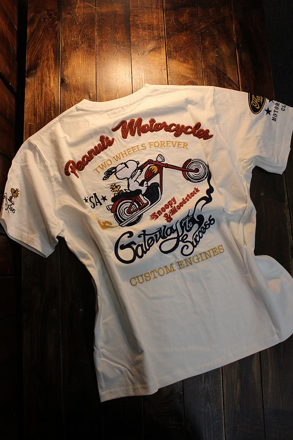 Snoopy スヌーピー 402010 半袖Tee 刺繍 半袖Tシャツ バイク ブラック